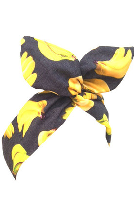 Yellow Banana Print Wired Headband by LULU IN THE SKY