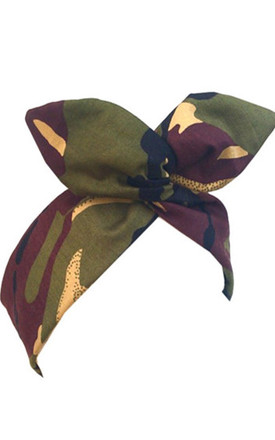 Army Camo Print Wired Headband by LULU IN THE SKY