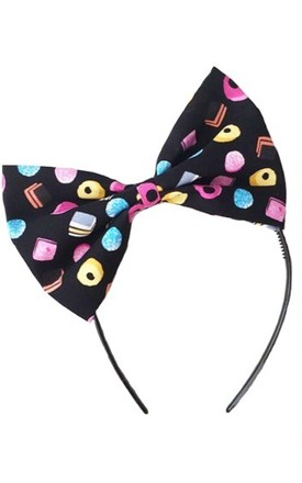 Liquorice Allsort Candy Oversized Bow Headband by LULU IN THE SKY