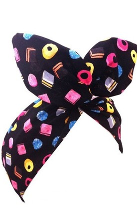 Black With Multi Coloured Liquorice Allsorts Wired Headband by LULU IN THE SKY
