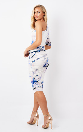 CABIANCA white print jersey one shoulder dress by Me & Thee