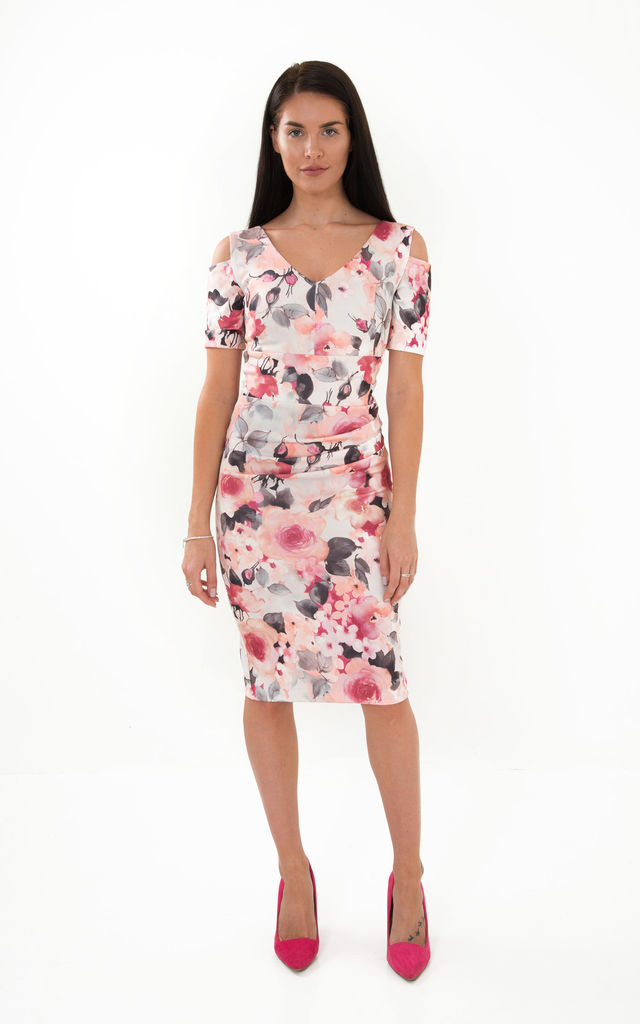 The Rebecca v neck cold shoulder pink floral print midi dress by Off the Catwalk