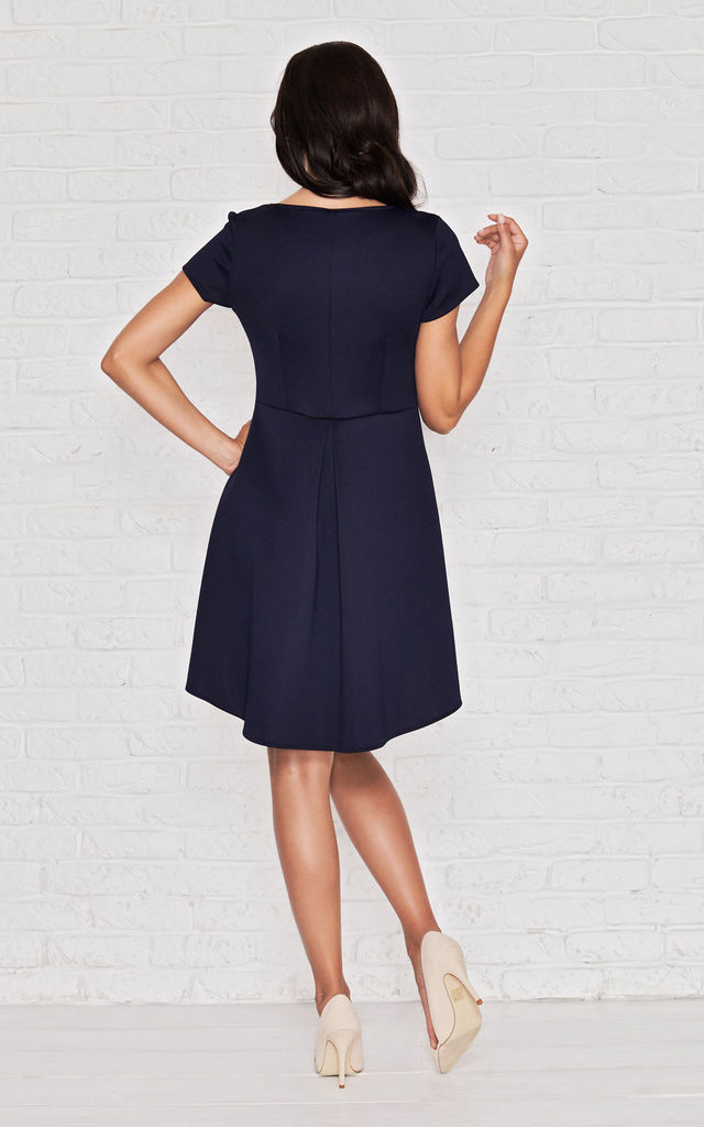 Navy Blue A-line Long Back Square Neck Dress by AWAMA