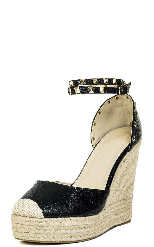 Carley Espadrille Studded Wedge Heel Strappy Sandals Shoes - Black Leather Style by SpyLoveBuy