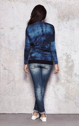 Blue Printed Chimney Neck Blouse by AWAMA