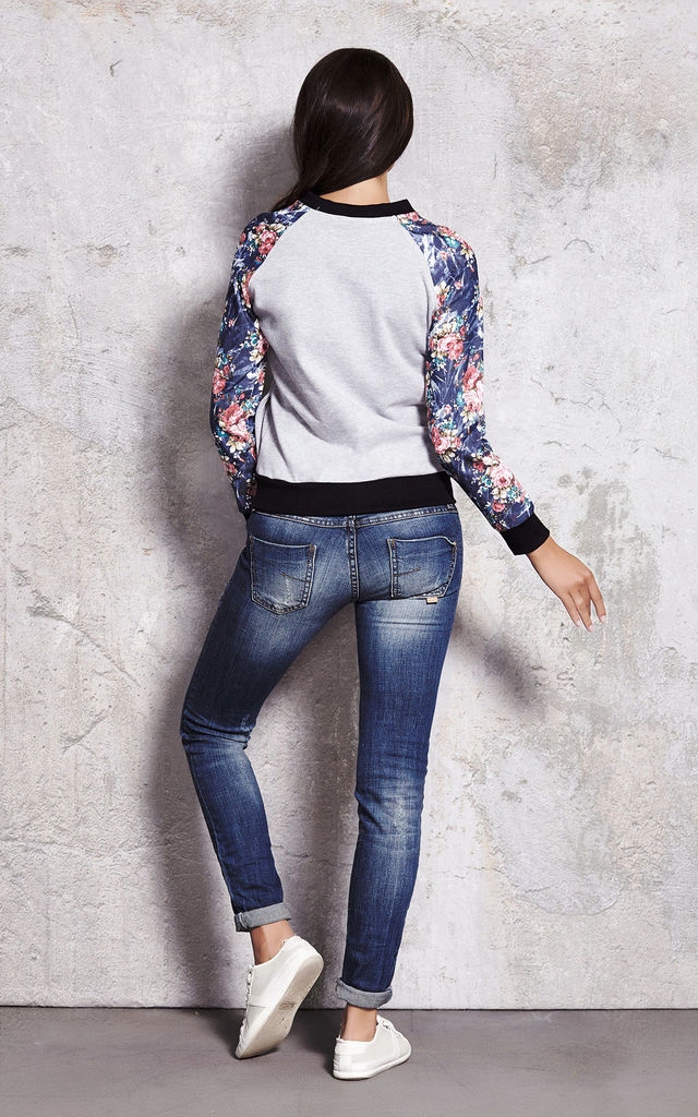 Long Sleeve Bomber Jacket in Grey Floral Print by AWAMA