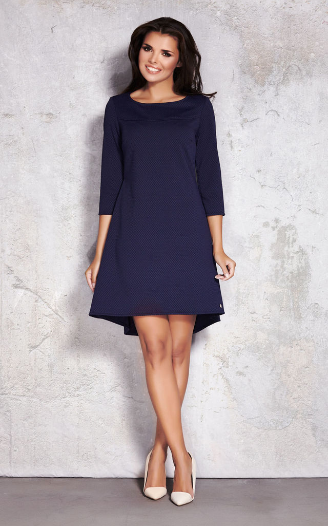Navy Blue Quilted 3/4 Sleeve Long Back Dress by AWAMA