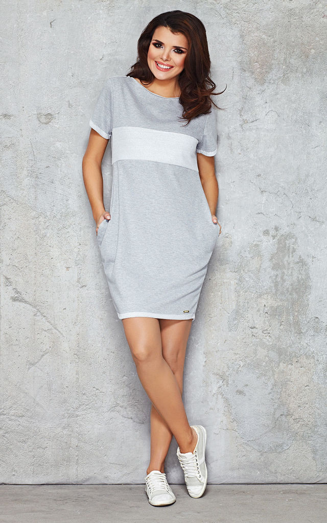 Grey Boat Neck Dress With Hips Pockets by AWAMA