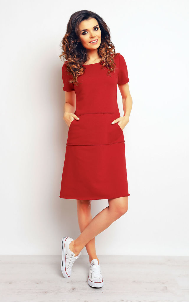 Red A-line Midi Dress With Big Front Pocket by AWAMA