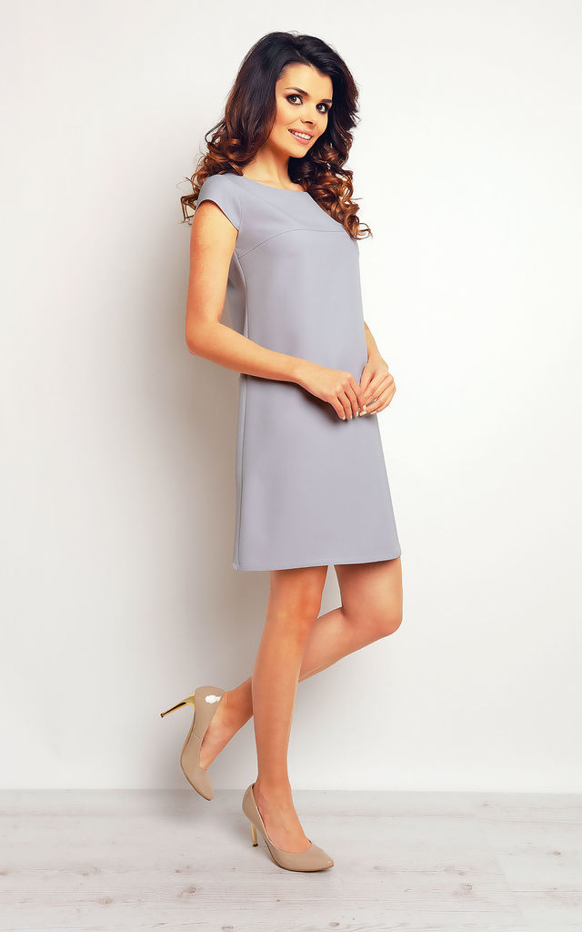 Grey Simply A-line Midi Dress With Short Sleeves by AWAMA