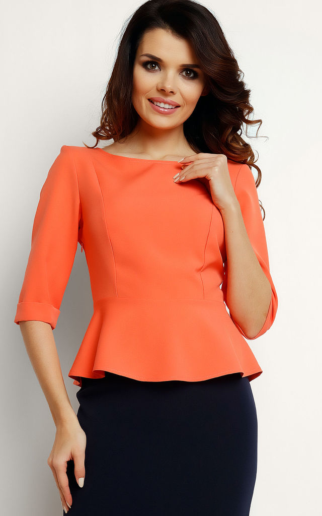 Coral Basquine 3/4 Sleeve Boat Neck Blouse by AWAMA
