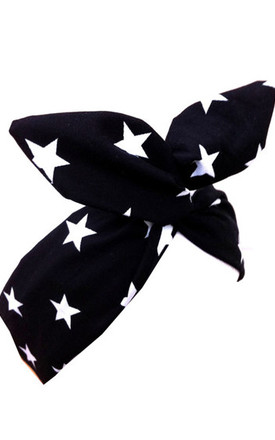 Black Star Print Wired Headband by LULU IN THE SKY
