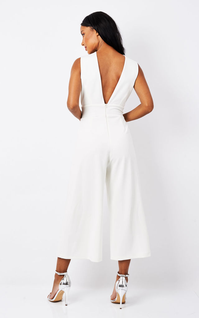 White Deep V Culotte Jumpsuit by Phoenix + Feather