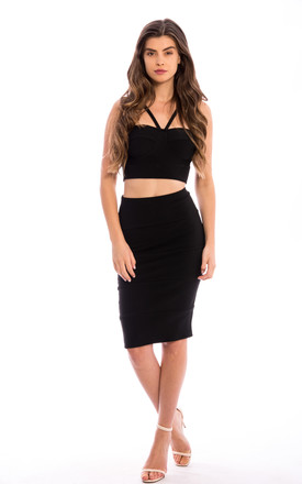 Crop Top & Midi Skirt Co-Ord in Black by Npire London