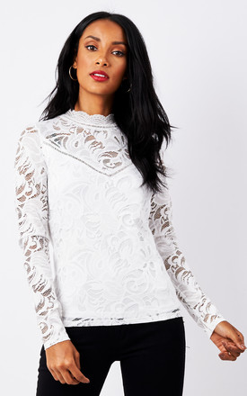 White Lace Long Sleeve Top by VILA Product photo