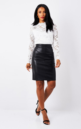 Black Leather Skirt by VILA Product photo