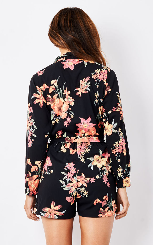 Tropical Florals Shirt Playsuit by likemary