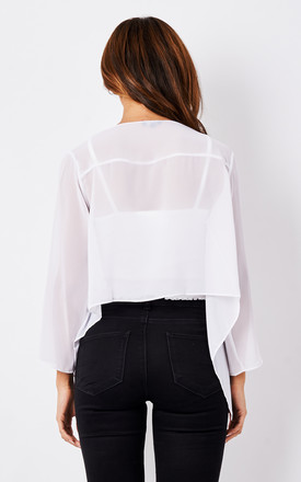 Sheer Chiffon Shrug Bolero Jacket White by likemary