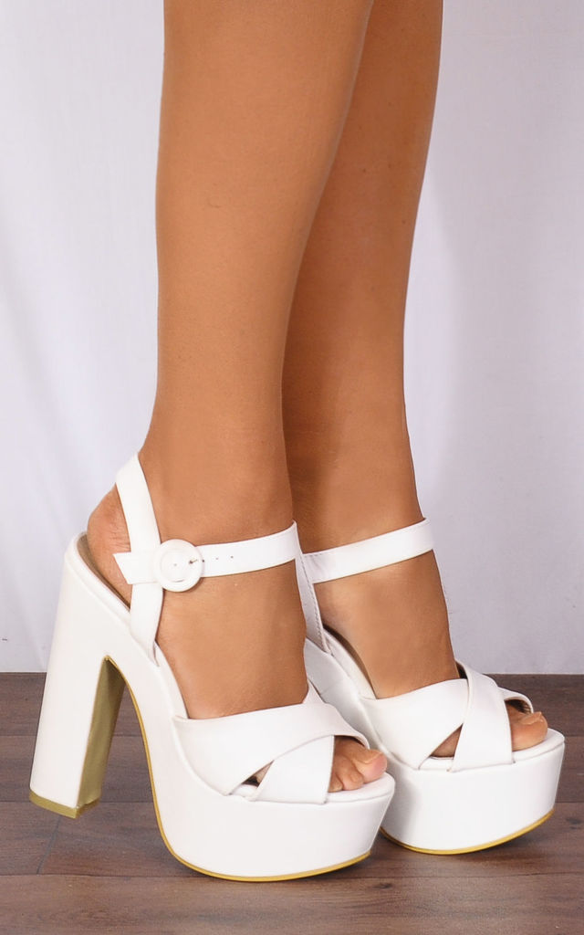 White Platform Sandals with Ankle Straps by Shoe Closet
