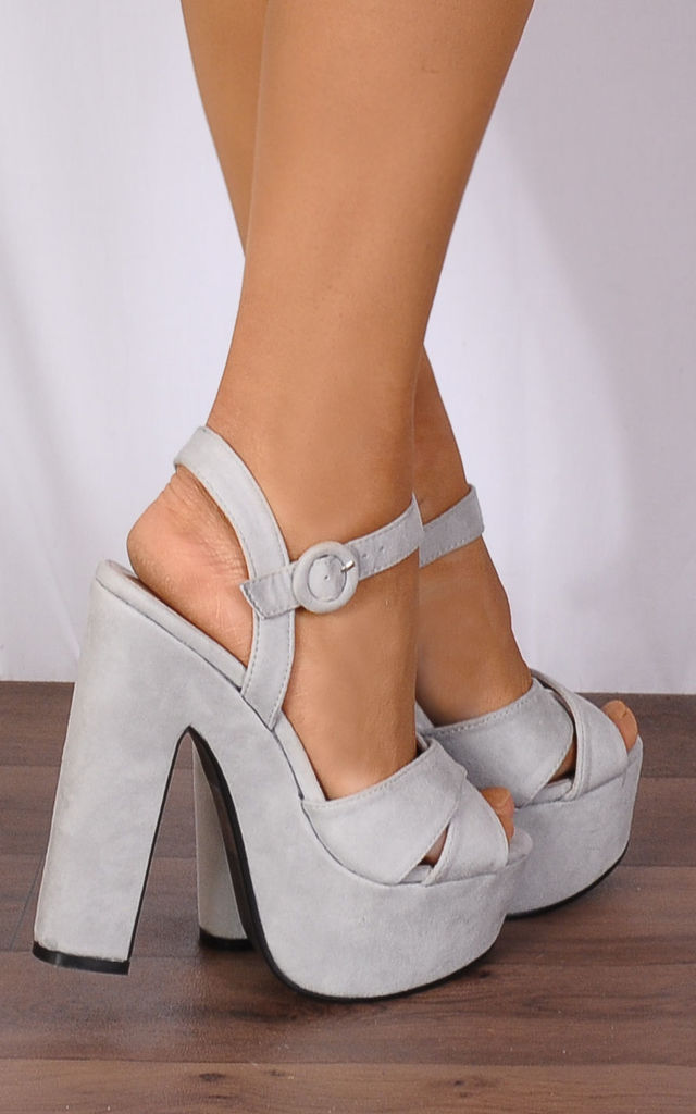 Grey Ankle Straps Strappy Sandals Platforms Peep Toes High Heels by Shoe Closet
