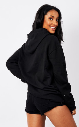 Black Distressed Hoodie by Lilah Rose