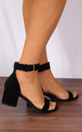 Black Barely There Low Heeled Peep Toes Strappy Sandals by Shoe Closet