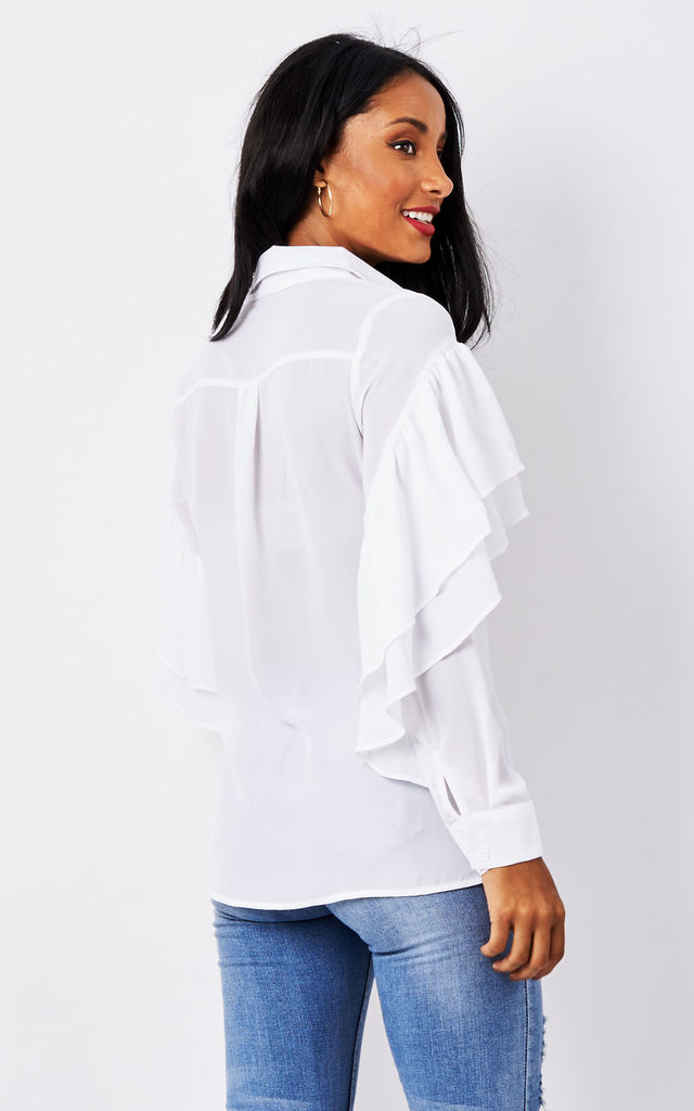 White Long Sleeve Ruffle Shirt by Glamorous