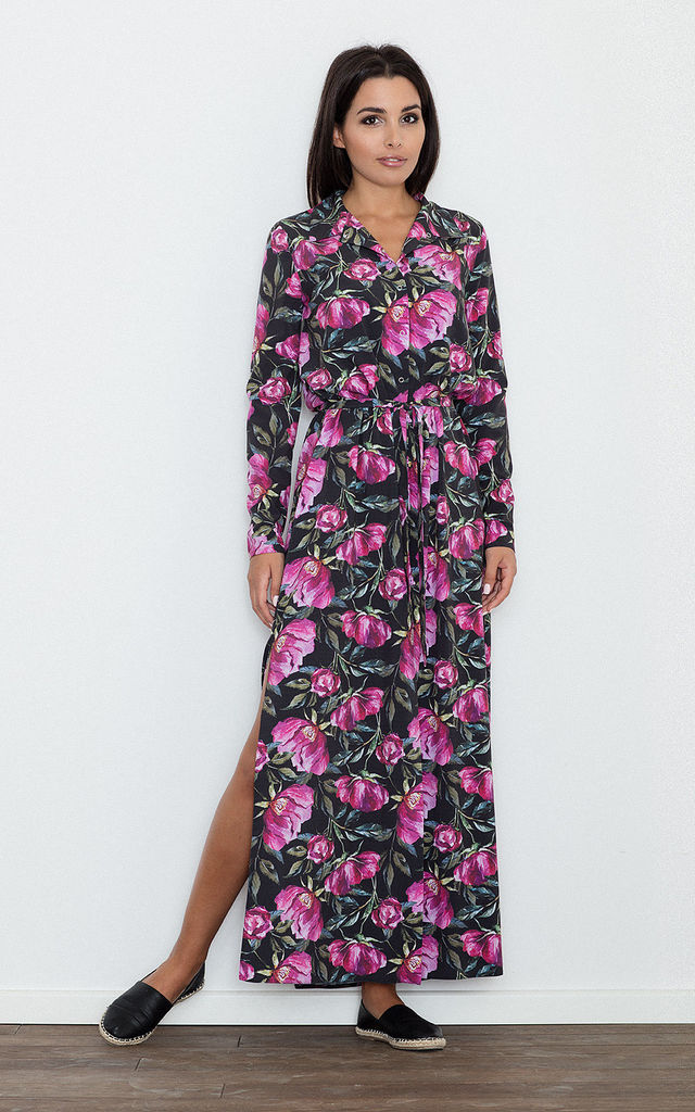 Black Floral Print Maxi Shirt Dress by FIGL