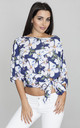 Blue 3/4 Print Sleeve Blouse with Bow by FIGL