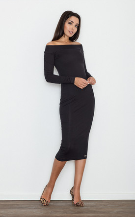 Black Bardot Fitted Dress by FIGL