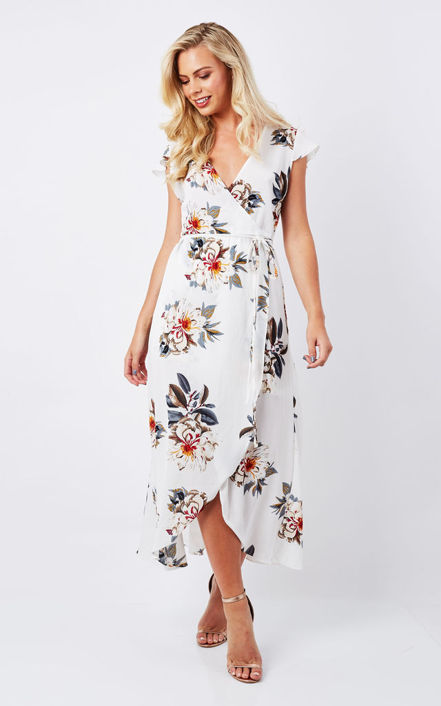 c2c78b4133 ... White Floral Wrap Dress by Lilah Rose ...