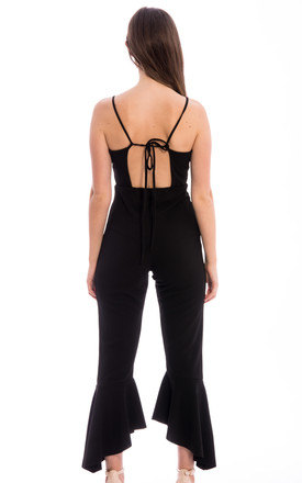 Asymmetric Frill Hem Jumpsuit -Black by Npire London