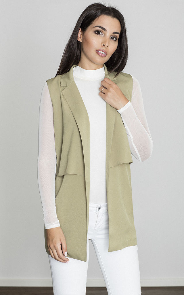 Olive Waistcoat with Collar by FIGL