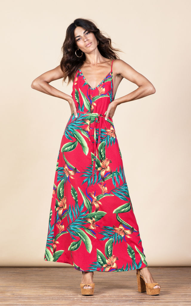 Giselle Maxi in Red Tropical image