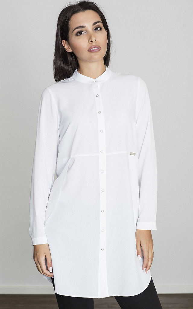 Long Sleeve Shirt with Mandarin Collar in White by FIGL