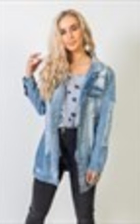 Olympia, Super Distressed Longline Denim Jacket by Material Gal