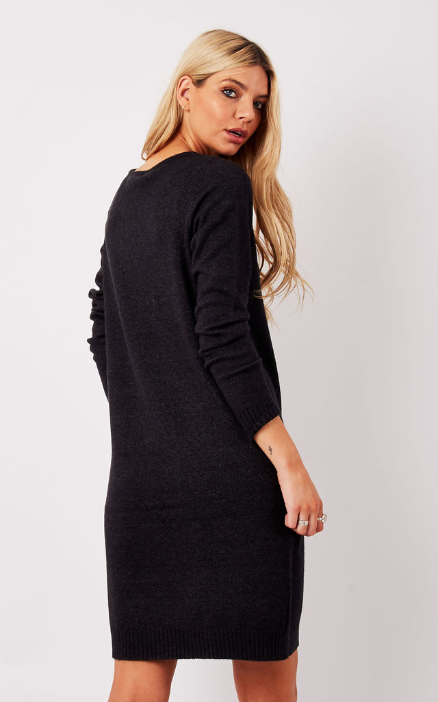 Dark Grey Long Knitted Dress by VILA