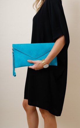 Turquoise Suede Envelope Clutch Bag by Pretty Lavish