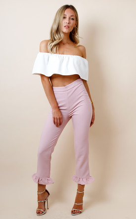 Frill Hem High Waisted Trousers - Pink by Pretty Lavish