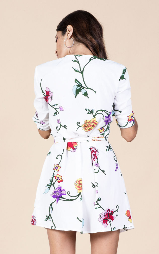 Zeina Dress in White Floral Pop image