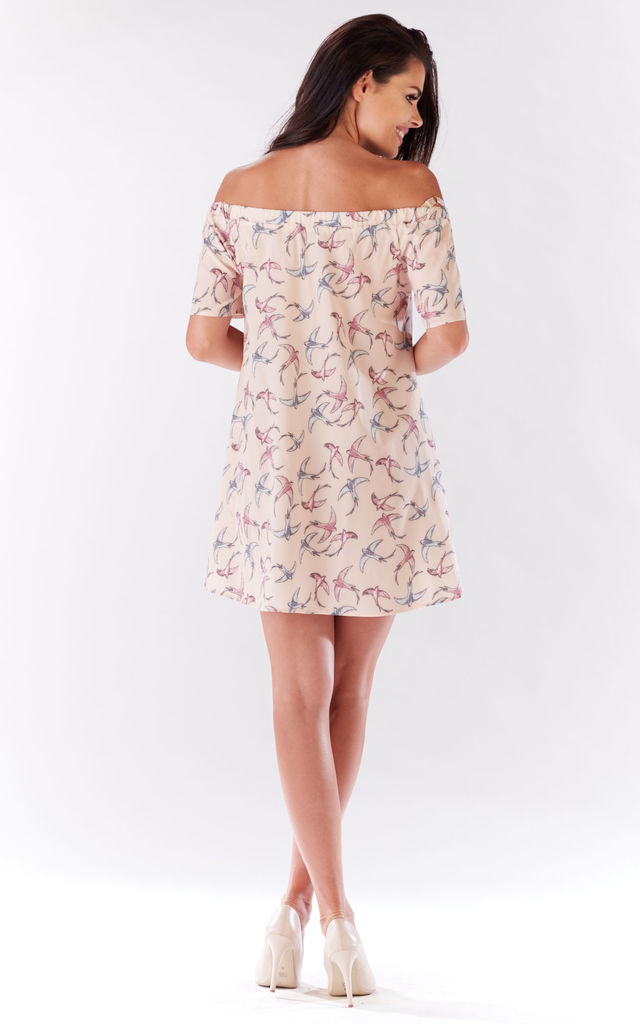Pink Mini Dress With Birds Pattern by AWAMA