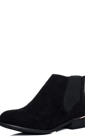 DOVER Flat Chelsea Ankle Boots - Black Suede Style by SpyLoveBuy