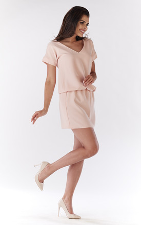 Powder Pink Mini Dress With V-neck And Short Sleeves by AWAMA