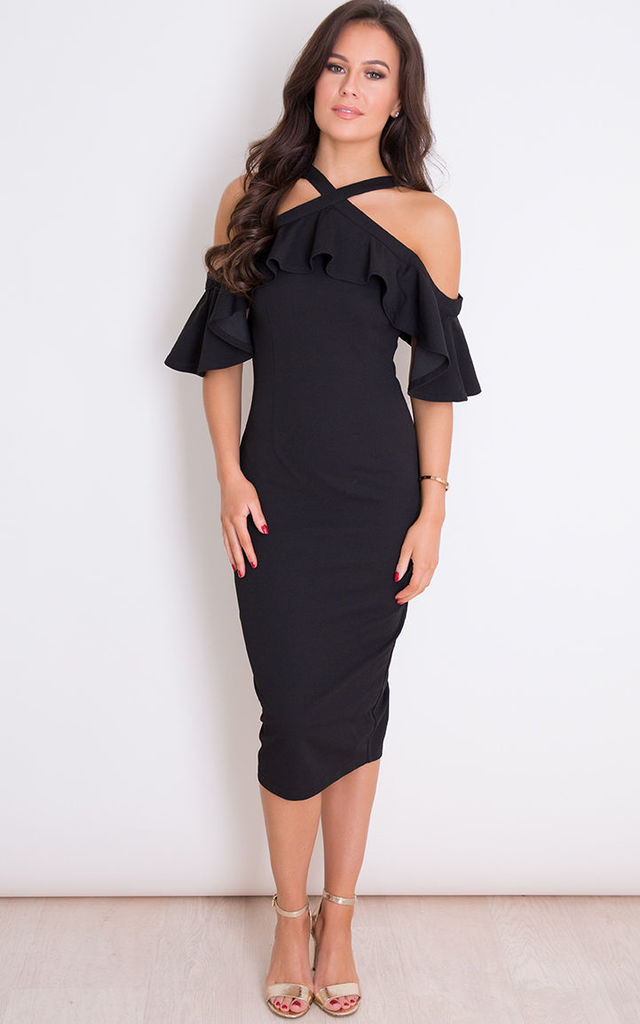 Holly Halterneck Frill Cold Shoulder Midi Dress Black by Girl In Mind