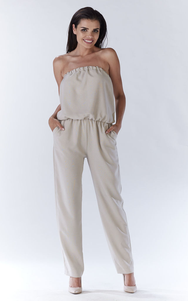 Beige Sexy Jumpsuit With Straight Legs by AWAMA