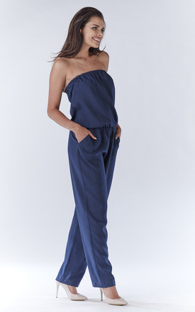 Navy Blue Sexy Jumpsuit With Straight Legs by AWAMA