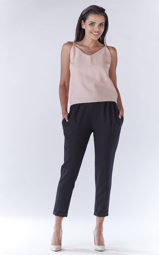 Black Loose Pants For Summer by AWAMA