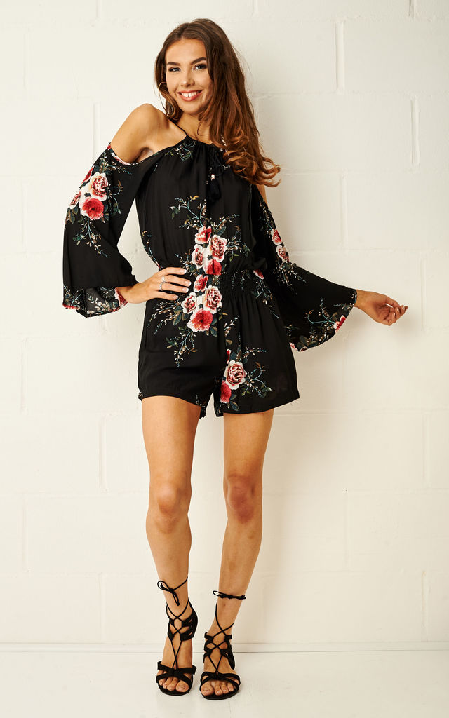 Mireya Floral Cold Shoulder Playsuit by Frontrow Limited