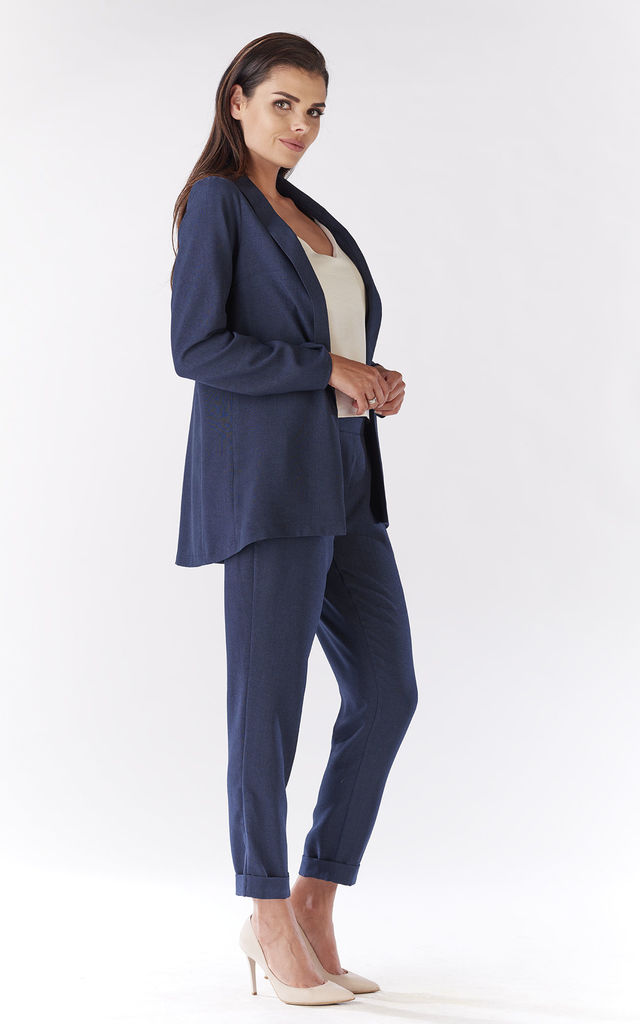 Navy Comfortable Jacket With Long Sleeves by AWAMA