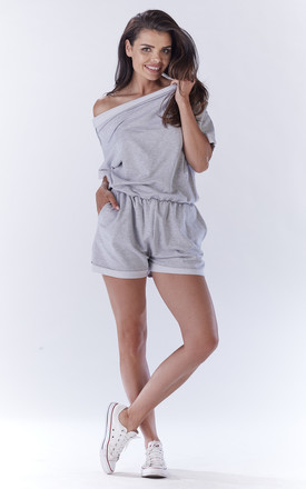 Grey Loose Offshoulder Short Legs Jumpsuit by AWAMA